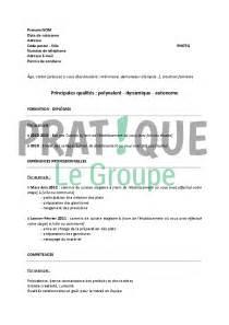 modele cv hotellerie restauration document