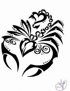 Girly tribal black-line scorpion tattoo design ...