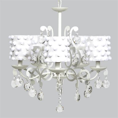 white 5 light elegance chandelier with white pom pom drum
