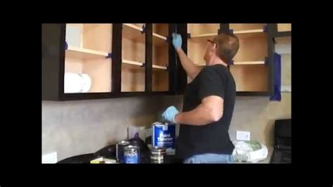 how to restain cabinets a different color how to gel stain kitchen cabinets youtube