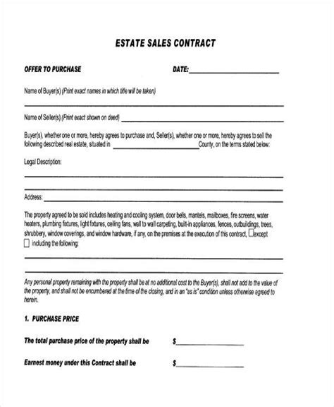sample sale contract forms   ms word