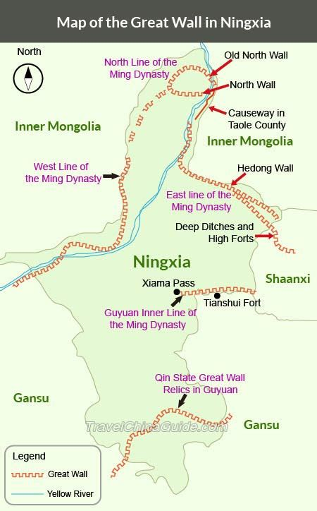 great wall  ningxia guyuan section sanguankou map
