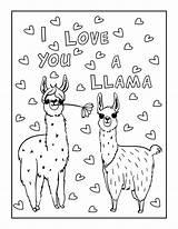 Llama Coloring Valentines Unicorn Printable Lama Llamas Valentine Sheets Heart Drama Malvorlagen Colouring Adult Printables Adults Funny Mom Dessin Simple sketch template