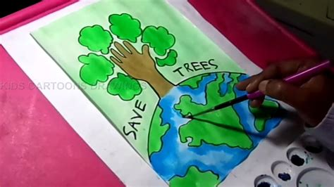 draw save trees  earth environment drawing