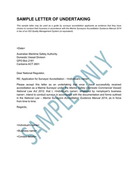 sample letter  undertaking australian maritime safety