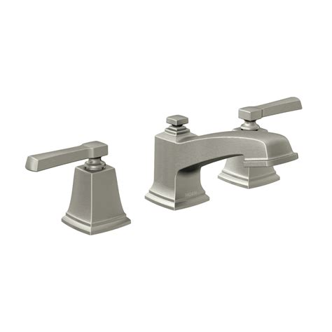 brushed nickel bathroom sink faucet shop moen boardwalk spot resist brushed nickel 2 handle