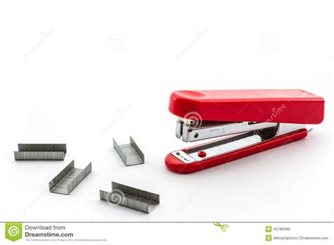 Red Stapler With Staples Wires Stock Photo  Image 42186360