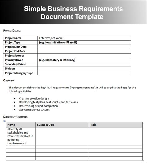 business requirements document template doliquid
