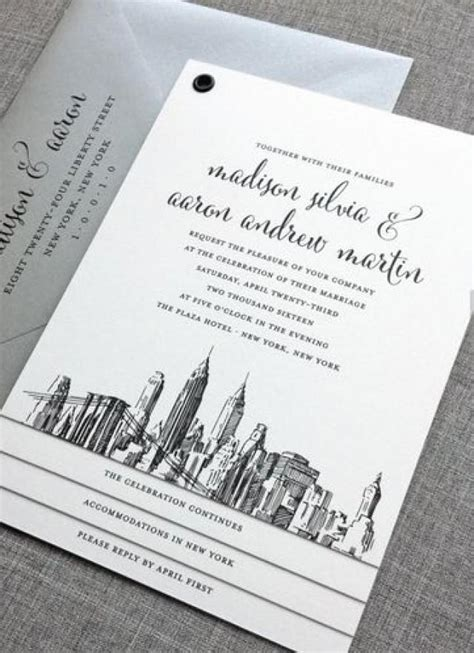 New Madison New York Skyline Wedding Invitation Sample