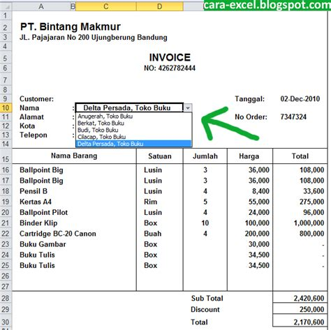 Invoice Contoh by Contoh Invoice Excel Cara Excel