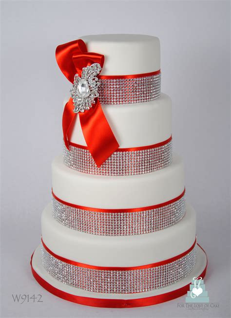 W9142 Red White Crystal Bling Wedding Cake Toronto A