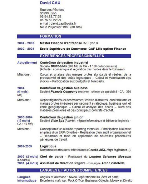 Exemple Cv De Travail by Exemple De Cv Contenu Laboite Cv Fr
