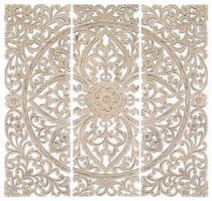 Set of carved wood wall panels antique white floral home