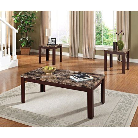 Faux Marble 3 Piece Coffee And End Table Set, Multiple