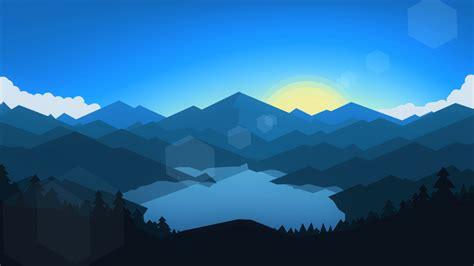 wallpaper forest mountains sunset