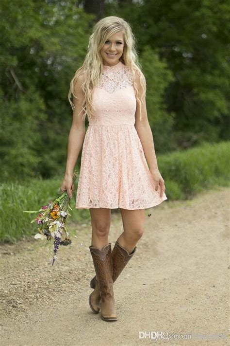 country style short lace bridesmaid dresses mixed