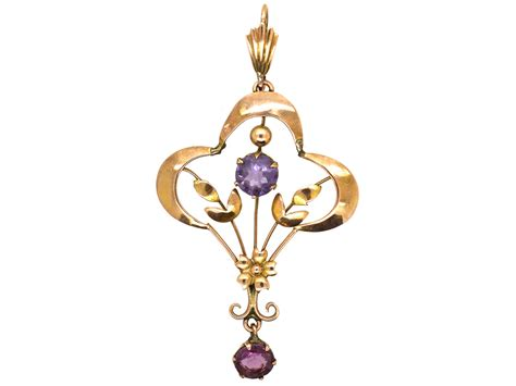 art nouveau ct gold amethyst pendant  antique