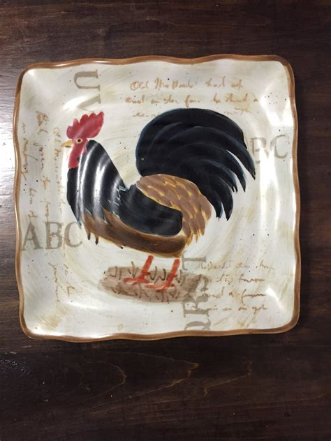 decorative rooster plate square rooster plate kitchen decor etsy rooster plates rooster