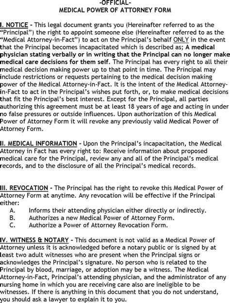 free kentucky medical power of attorney form pdf 111kb