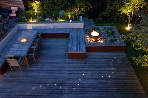 eclairage exterieur terrasse composite spots led vasque feu
