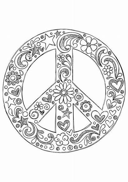 Coloring Peace Hippie Printable Simple