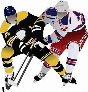 Ice Hockey Players  Colored Vector Illustration For