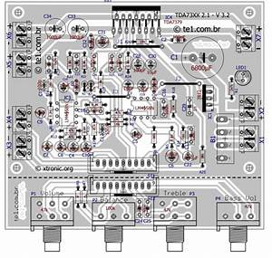 Amplificador 2 1 Com Integrado Tda7377   Subwoofer Toni Eletr U00f4nica One