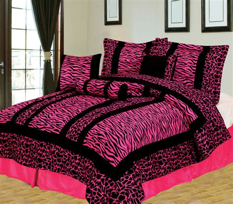 7pcs queen giraffe zebra pink and black micro fur
