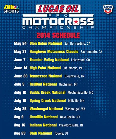 2014 ama motocross schedule 2014 lucas oil ama pro mx chionship calendar transmoto