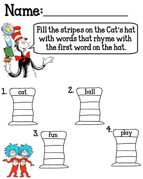 cat in the hat worksheets by jan belcher cat in the hat dr seuss rhyming activities rhyming worksheet dr seuss