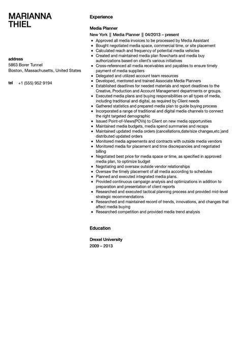 Media Planning Resume by Media Planner Resume Sle Velvet