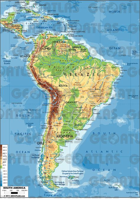 south america physical features map  travel information