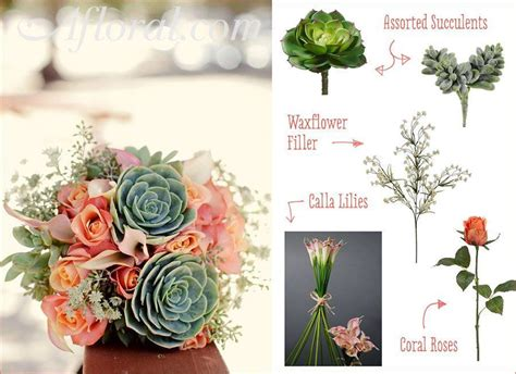 coral roses and succulents wedding bouquets diy
