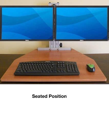 kangaroo elite desktop sit stand workstation dual monitor