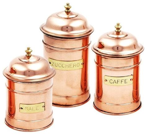 kitchen canisters and jars copper cans set of 3 rustic kitchen canisters and