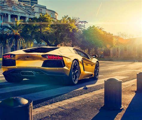 Lamborghini Aventador Lp700-4 Gold Color Car Sunset 4k