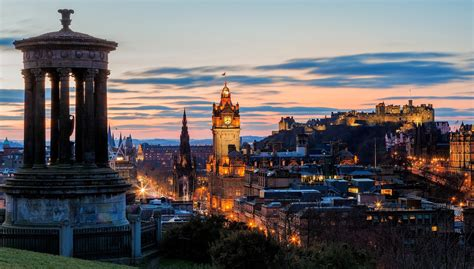 cityscape edinburgh scotland castle hill  building