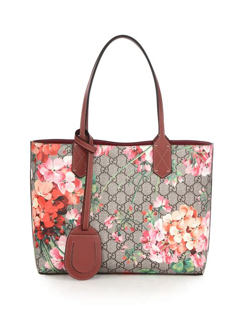 gucci gg blooms small reversible tote  pink lyst