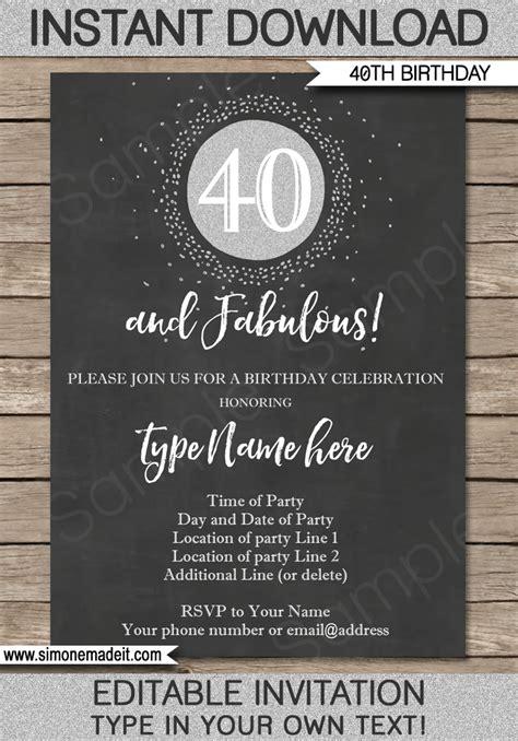 chalkboard  birthday invitations template printable