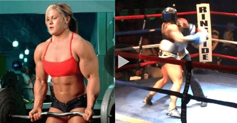 extremely jacked female bodybuilder knocks  boxing champ   seconds mma imports