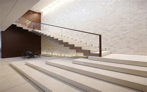minimalist interior stair designs ideas with glass railing baluster and wall decor plus