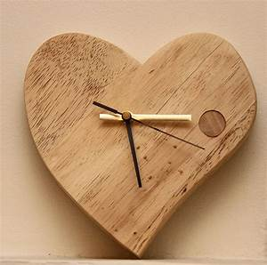 Hand crafted valentine wooden clock by furniture magpies