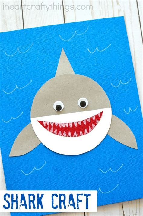 shark week simple paper shark craft kid crafts and 850 | 84fd4e061501ff1ee162794cbef6d224