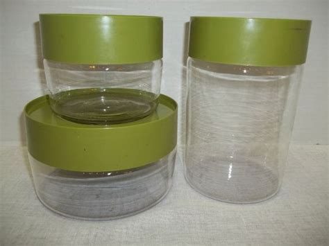 clear glass kitchen canister sets vintage set of three pyrex avocado green glass canisters