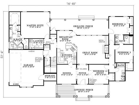 4 bedroom 2 bath house plans southern style house plan 4 beds 3 baths 2373 sq ft plan
