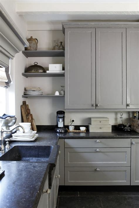 gray kitchen with open shelving   Simplified Bee