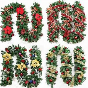 2016, New, Green, Christmas, Garland, Wreath, Xmas, Home, Party, Christmas, Decoration, Pine, Tree, Rattan