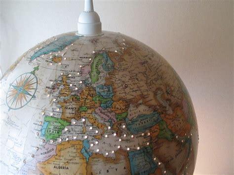 Upcycled World Globe Hanging Lamp Pendant Light Vintage Map