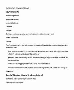 teacher resume 9 free sample example format free With entry level teacher resume