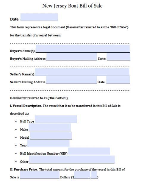 Nj Boat Bill Of Sale Pdf free new jersey boat bill of sale form pdf word doc